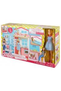 Игровой набор Барби Переносной домик с куклой DVV48