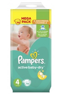 Pampers подгузники Active Baby-Dry 4 (8-14 кг) 132 шт