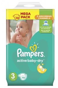 Pampers подгузники Active Baby-Dry 3 (5-9 кг) 152 шт