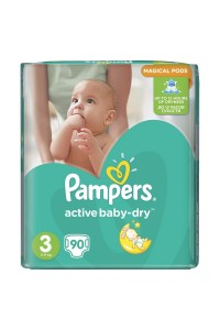 Pampers подгузники Active Baby-Dry 3 (5-9 кг) 90 шт