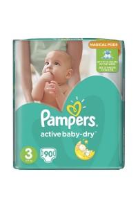Pampers подгузники Active Baby-Dry 3 (5-9 кг) 90 шт