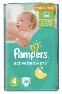 Pampers подгузники Active Baby-Dry 4 (8-14 кг) 76 шт