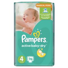Pampers подгузники Active Baby-Dry 4 (8-14 кг) 76 шт