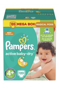 Pampers подгузники Active Baby-Dry 4+ (9-16 кг) 120 шт