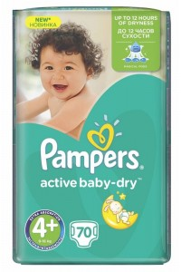 Pampers подгузники Active Baby-Dry 4+ (9-16 кг) 70 шт