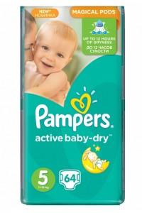 Pampers подгузники Active Baby-Dry 5 (11-18 кг) 64 шт