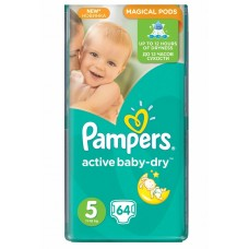 Pampers подгузники Active Baby-Dry 5 (11-18 кг) 64 шт