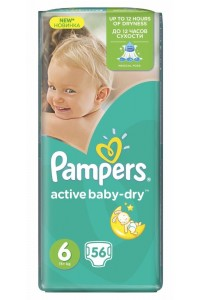 Pampers подгузники Active Baby-Dry 6 (15+ кг) 56 шт
