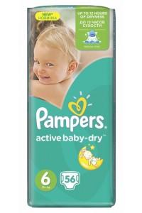 Pampers подгузники Active Baby-Dry 6 (15+ кг) 56 шт