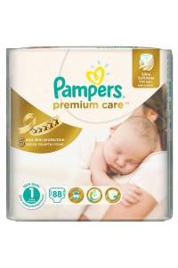 Pampers подгузники Premium Care 1 (2-5 кг) 88 шт