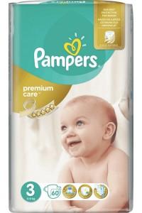 Pampers подгузники Premium Care 3 (5-9 кг) 60 шт